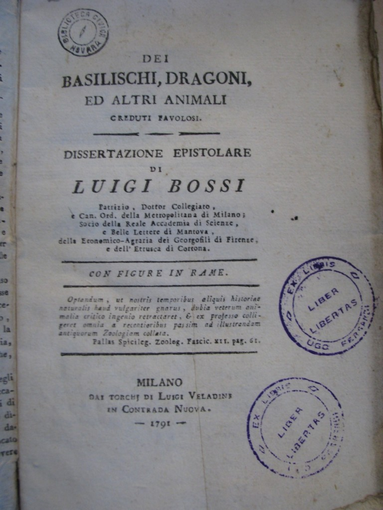 Volume del 1791, scritto da Luigi Bossi, sui basilischi e altre creature fantastiche